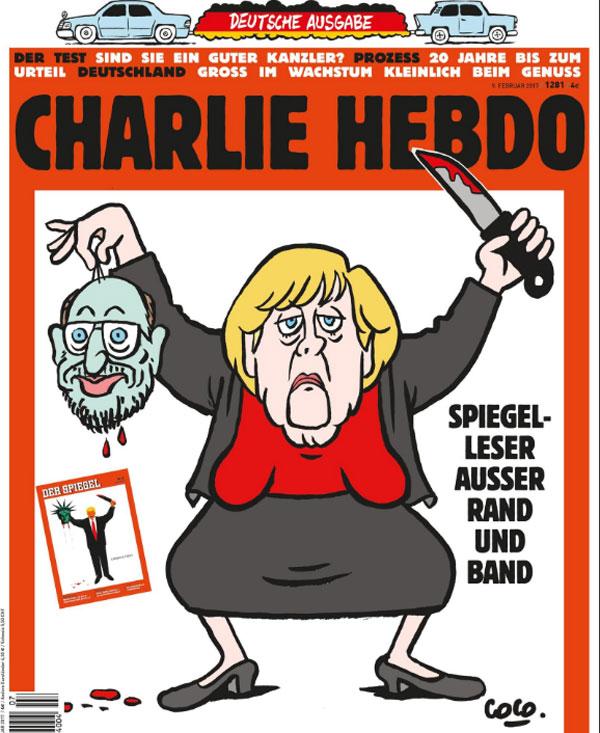 Qualitätsjournaille  Nach dem SPIEGEL provoziert auch die deutsche Ausgabe von CHARLIE HEBDO mit einem etwas verstörenden Cover, angeblich aus Solidarität mit dem für sein Trump-Cover massiv gerügten SPIEGEL.  Kann jemand mit dieser Logik was anfangen. Ich nicht. :v  https://web.de/magazine/politik/charlie-hebdo-solidarisiert-spiegel-32159366 #Date:#