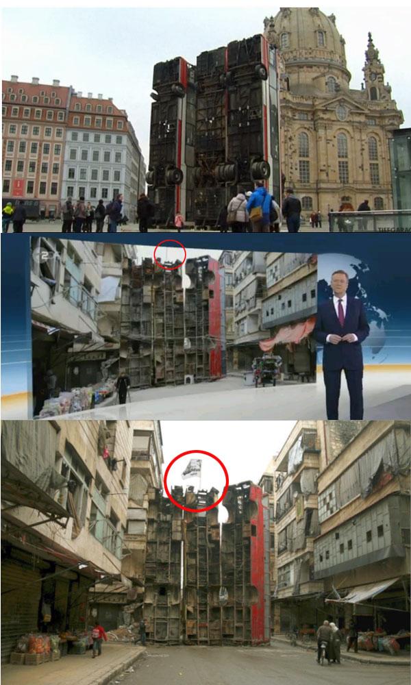 """Das Dresdener Bus-Schandmal hat terroristischen Hintergrund  GEZ-ZDF und Lakaienpresse erneut bei massivem Bürgerbetrug und Regierungspropaganda erwischt.  """"Der Tagesspiegel"""" schrieb am 7.2.17: +++ Vorlage für die temporäre Installation von Manaf Halbouni - sie soll bis zum 3. April stehen bleiben - ist ein Bild aus dem zerstörten Aleppo, das 2015 um die Welt ging. Damals hatte die Zivilbevölkerung drei Busse hochkant aufgerichtet, um sich vor Angriffen des Militärs zu schützen. Der Künstler versteht die etwa 12 Meter hohe Skulptur als moderne Freiheitsstatue."""" +++  Herr Manaf Halbouni ist ein Künstler. Er ist Deutsch-Syrer, was immer das auch sein soll. Er sympathisiert mit der Besatzern von Aleppo, denn der Kampf um Aleppo diente in seinen Augen nicht etwa der Befreiung von sunnitisch-islamistischen Rebellen, sondern der Jagd der syrischen Regierung auf die Zivilbevölkerung. Soviel zum Hintergrund des offensichtlich Scharia-begeisterten Künstlers und der Umstände.  Die Busse in Aleppo sind also von armen Zivilisten errichtet worden, um die Befreiungsangriffe der Regierungstruppen zu verhindern. So verbreitet es der Künstler, so verbreitet es das weinerliche Gutmensch-Idol Claus Kleber im ZDF.  Und siehe da, es gibt doch tatsächlich Originalaufnahmen von den Bussen in Aleppo. Und siehe da, was hängt auf diesen Bussen ganz oben? Ja, ein Fähnchen. Von wem? Nee, nicht vom roten Kreuz oder so ein Quatsch. Es ist eine Fahne der terroristischen Vereinigung Ahrar al Sham!. Da guckste, gell. Haben die beim ZDF doch glatt abgeschnitten, das Fähnchen. Und die Lückenpresse hat vergessen, es zu erwähnen.  Und wer oder was ist Ahrar al Sham. Das sagt uns der Generalbundesanwalt:  +++ Die ausländische terroristische Vereinigung """"Ahrar al Sham"""" ist zumindest bis Mitte 2014 eine der größten und einflussreichsten salafistisch-jihadistischen Gruppierungen der syrischen Aufstandsbewegung gewesen. Sie hat sich zum Ziel gesetzt, das Regime des syrischen Machthabers Assad zu stürzen und"""