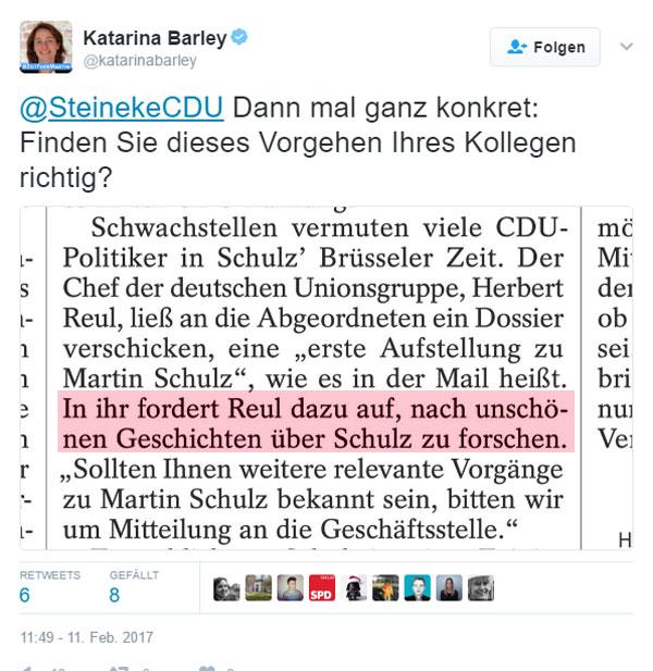 Bild zum Thema Die CDU sucht nach Schwachstellen von Martin Schulz in seiner Zeit bei der EU. Die Generalsekretärin der SPD, Katarina Barley, bettelt derweil um Gnade für den Hoffnungsträger der Sozen.