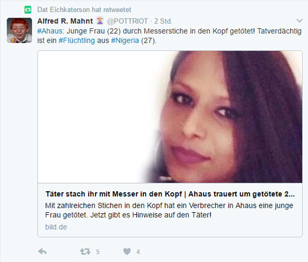 Junge Frau stirbt nach Messerstichen in den Kopf Auf offener Straße hat ein Täter eine 22-Jährige in Ahaus bei Münster getötet. Die Polizei fahndet als dringend Tatverdächtigen nach einem 27-jährigen Asylbewerber aus Nigeria. Diese Tat hätte man der Frau vielleicht ersparen können, wenn man weniger Fackkräfte für Messertechnik importiert hätte.  #Date:02.2017#