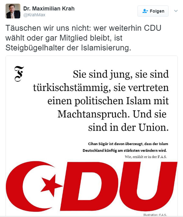 Nicht täuschen lassen: wer CDU wählt, wählt die Islamisierung Deutschlands. Das war es dann. #Date:02.2017#