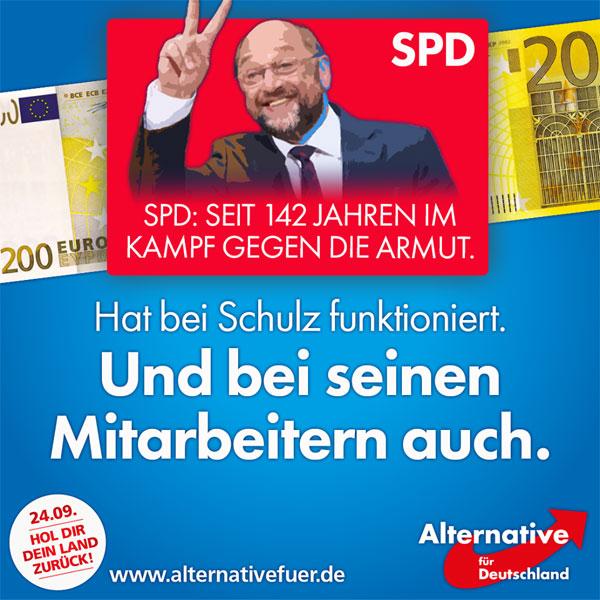 Bild zum Thema 'Martin Schulz findet keinen Topf Gold am Ende des Regenbogens, der Topf findet ihn!'   So oder ähnlich lauten derzeit viele kursierende Sprüche über Schulz, angelehnt an den Kult um einen amerikanischen Schauspieler. Und tatsächlich scheint es dort wo Schulz wandelte, einen wahren Geldregen gegeben zu haben. Nicht nur für ihn, sondern auch für seine Mitarbeiter im EU-Parlament.   So sollen Reisekosten für Reisen abgerechnet worden sein, die einer der betreffenden Mitarbeiter nie angetreten hatte. Er war in Berlin tätig, obwohl der Einsatzort Brüssel gewesen wäre. Also rechnete er brav die Spesen für Dienstreisen zwischen Berlin und Brüssel ab, an 273 Tagen im Jahr 2012, was ihm am Ende rund 16.600 Euro einbrachte.  Schulz selbst soll versucht haben, in die Personalpolitik der EU-Verwaltung einzugreifen, um dem verdienten Mitarbeiter einen gut dotierten Beamten-Posten zu verschaffen. Inge Gräßle, Chefin des EU-Haushaltskontrollausschusses: 'Schulz hat die Regeln des Parlaments umgangen und gebeugt wie kein Parlamentspräsident vor ihm'.  Der saubere Martin Schulz, der sich als Vertreter der 'kleinen Leute' feiern lässt, ist augenscheinlich einer der größten Nutznießer des EU-Versorgungsapparates. Er demonstriert, wie abgehoben die selbsternannte politische Elite ist. Oder anders ausgedrückt: 'Wenn Martin Schulz in einem Flugzeug fliegt, dann fliegt er nicht wirklich, sondern die Welt hält respektvoll Abstand.'  #AfD: Mut zur Wahrheit!