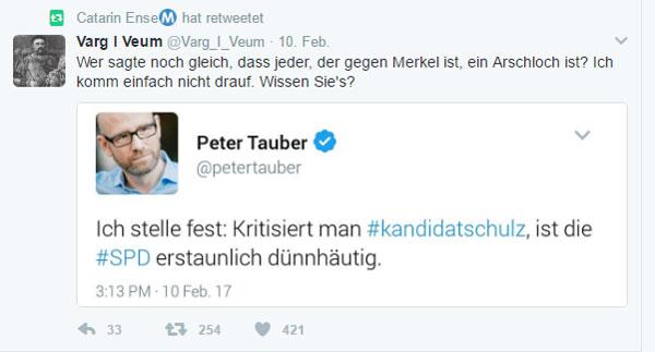 """Kritik ist unbeliebt bei den Konsensparteien Klasse. Der """"taube Peter"""" Peter Tauber ist Generalsekretär der CDU und er hat öffentlich bekundet, dass jeder, der gegen Merkel ist, ein ARSCHLOCH ist (gilt auch für CDU-ler).  #Date:02.2017#"""