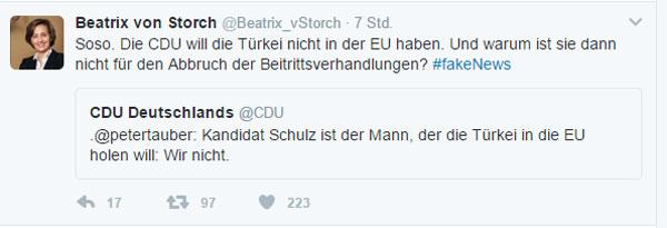 Tauber Peter ist ein Knallkopf  Da lachen ja die Hühner. Peter Tauber, CDU-Generalsekretär, wirft den SPD-Sozen vor, dass diese die Türkei in die EU holen wollen.  Richtig ist ja wohl, dass die Fakefugees-Kanzlerin Merkel mit ihrer toxischen Flüchtlingspolitik und dem daraus folgenden Türkei-Deal, die EU gegenüber den Türken erpressbar gemacht hat.  Da siehste mal, für wie dumm dich Schwarze halten.  #Date:02.2017#