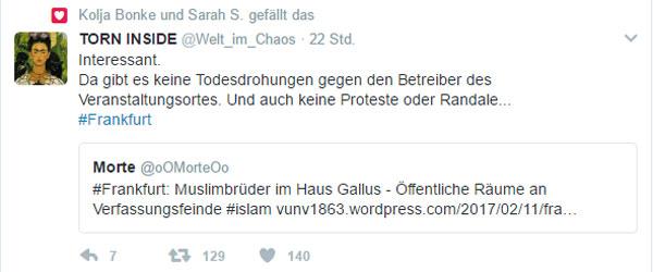 Bild zum Thema Proteste. Nööööööö  In Frankfurt finden Veranstaltungen der Muslimbrüder in öffentlichen Räumen statt, ohne dass dies irgendjemanden juckt.  Die Muslimbrüder sind fanatische sunnitische Islamisten und deshalb per se verfassungsfeindlich. https://de.wikipedia.org/wiki/Muslimbr%C3%BCder  Derweil trommelt die ANTIFA in Köln bundesweit Tausende von gewaltbereiten linksautonomen Faschisten zusammen, weil die AfD ein Parteitägelchen abhalten will.