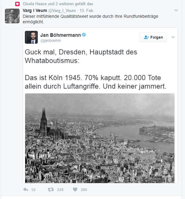 Bild zum Thema Jan Böhmermann, der Hosenscheisser  Jan Böhmermann vom ZDF Neo Magazin Royale ist ein kleiner Hosenscheisser, der über zigtausende Tode seine Späße treibt.   Ermöglicht wird dieser Schrottfunk durch die zwangseingetriebenen GEZ-Gelder.  Nicht jammern, Dresden über den wahnwitzigen Blutzoll  in der Nacht vom 13. auf 14.2.1945 in der mit schlesischen Flüchtlingen völlig überschwemmten Stadt.  Anders als in Köln, gelingt es Linksfaschisten in Dresden nicht, das Andenken an die Toten zu verhindern.