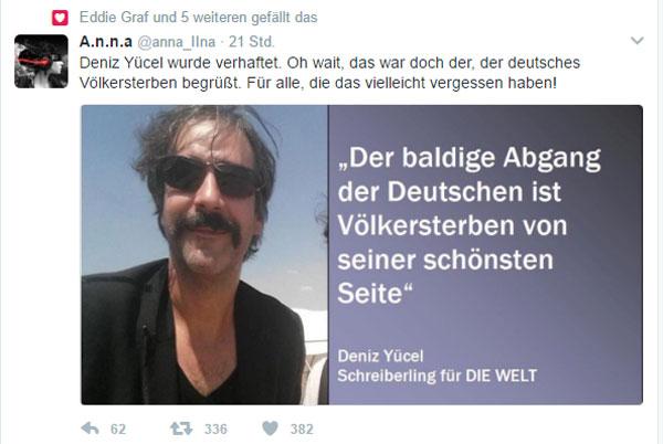Klar, dass sich Merkel für den einsetzt  Der WELT-Geschichtenschreiber Deniz Yücel ist in der Türkei verhaftet worden.  Hat er den Türken etwa dasselbe erzählt wie uns Deutschen. Dann wird es aber saueng für den Typ.  Aber keine Angst, Mutti Merkel tut alles und lässt das Auswärtige Amt rotieren, um dieses Spitzenexemplar an deutschem Qualitätsjournalismus aus der misslichen Lage zu befreien.  Hätte uns auch gewundert, Yücel wird dringend in Deutschland gebraucht (aber nicht von Deutschland).  #Date:#