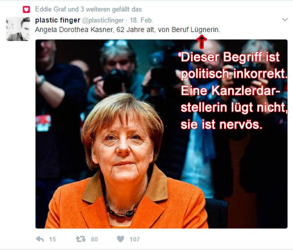 Kennen Sie Frau Kasner? Ja, Sie kennen sie. Aber eigentlich heisst sie jetzt Merkel. Richtig. Es ist die Mutti der Neudeutschen. Die Mutti, die nur noch von der AfD gebremst werden kann. Mutti war bei ihrer Vernehmung durch den NSA-Untersuchungsausschuss so nervös (wer hätte dafür kein Verständnis), dass sie glatt bei der formellen Personalienabfrage ihren Mädchennamen angegeben hat. Ist sie nicht süß, die Retterin der Welt. So menschlich, gell.  #Date:02.2017#