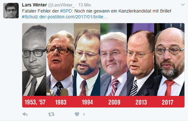Fataler Fehler bei der SPD. Noch nie gewann ein Kanzlerkandidat mit Brille. :-))))) #Date:02.2017#