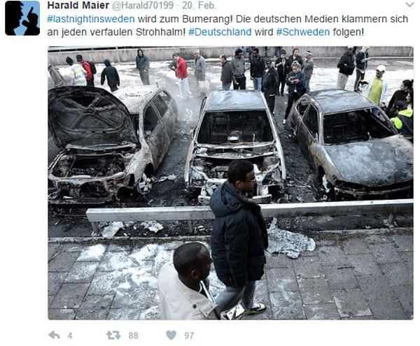 Bild zum Thema Letzte Nacht in Schweden  Nachdem die deutsche Konsenspresse tagelang die von US-Präsident Trump benutzte Metapher #lastnightinsweden zu zerfetzen versucht hatte, kam es genau dort wieder zum Crash zwischen Neuzugewanderten und dem Staat im völlig überfremdeten Schweden.