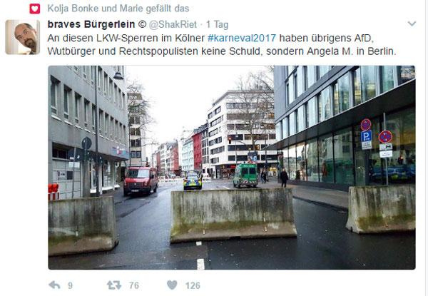 Bild zum Thema Fasching nach Merkel-Gusto  Naja, wenn sich schon die gesamte Gesellschaft ändern soll, warum nicht auch der Fasching.  Hochsicherheitsmaßnahmen und Personenschutz für Karnevalisten sind so recht nach Merkels Geschmack.  Alter, ungeheuerlich was uns die Kanzlerdarstellerin in Symbiose mit den Gutmensch-Ideologen eingebrockt hat.