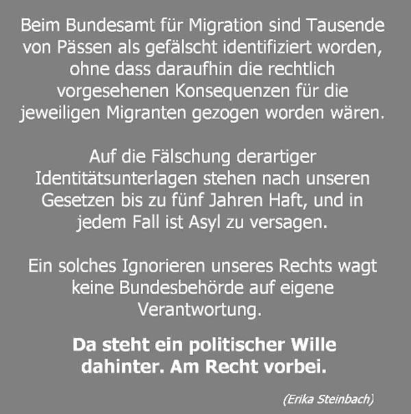 Erika Steinbach: am Recht vorbei Am 15-1-2017 trat Erika Steinbach aus Protest gegen die Flüchtlingspolitik von Merkel aus der CDU und der Bundestagsfraktion aus. Der Zerfall des Rechtsstaats nach Merkels Gnaden war zuviel des Guten für Steinbach, die über vierzig Jahre CDU-Mitglied war.  #Date:02.2017#