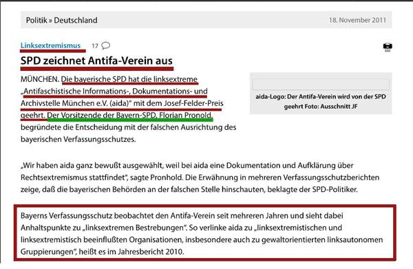 Bild zum Thema Die SPD in Bayern zeichnet Verein aus, der vom Verfassungsschutz wegen Kontakten zum Linksextremismus beobachtet wird.