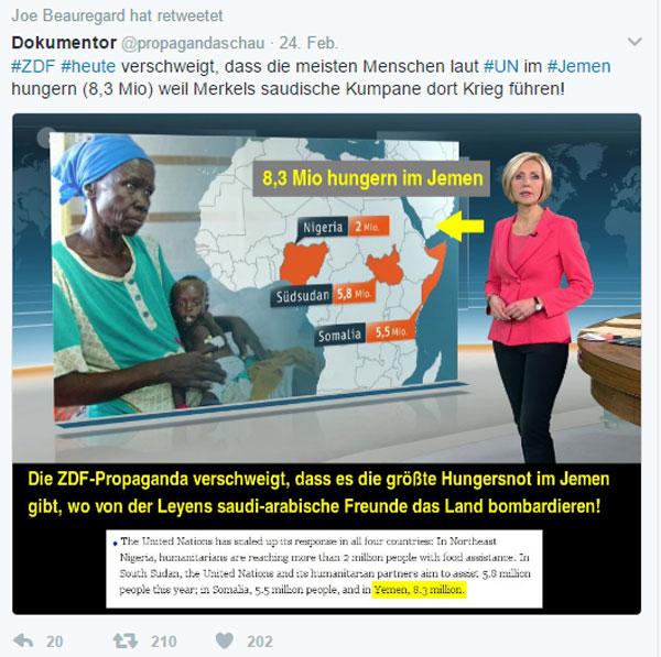 Lücken-ZDF im Dienste von Heuchel-Merkel  Die Kanzlerdarstellerin versteht sich besonders gut mit Saudi-Arabien. Dort gibt es als Give-away sogar zu Staatsaufträgen noch ein paar Bundespolizisten dazu.  Klar, dass man da gerne 8,3 Millionen Hungernde im von den Saudis bekriegten Jemen ein bisschen verschweigt.  Als GEZ-Funk ein absolutes Muss. #Date:02.2017#