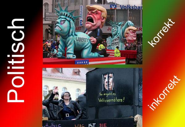 Bild zum Thema Feine Unterschiede bei der Narrenfreiheit  Während man Trump die Freiheitsstatue doggystyle begatten lassen und ihm anschließend  den Kopf abschneiden darf (Scharia in Deutschland, es ist soweit), ist die Meinungsfreiheit zum Thema Kanzlerdarstellerin Merkel eher sehr beschränkt. :v  http://www.rheinpfalz.de/nachrichten/titelseite/artikel/bad-bergzabern-kanzlerin-merkel-bei-faschingsumzug-verunglimpft/  http://www.focus.de/regional/karneval/karneval-2017-im-news-ticker-koelner-rosenmontagszug-gestartet_id_6710218.html