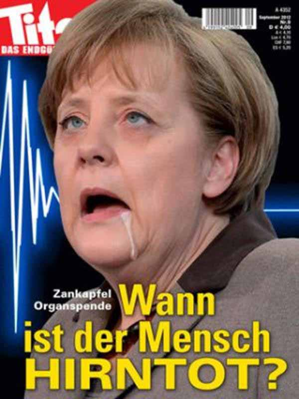 Wann ist der Mensch hirntot? Merkel sabbernd auf dem Titelbild #Date:12.2015#