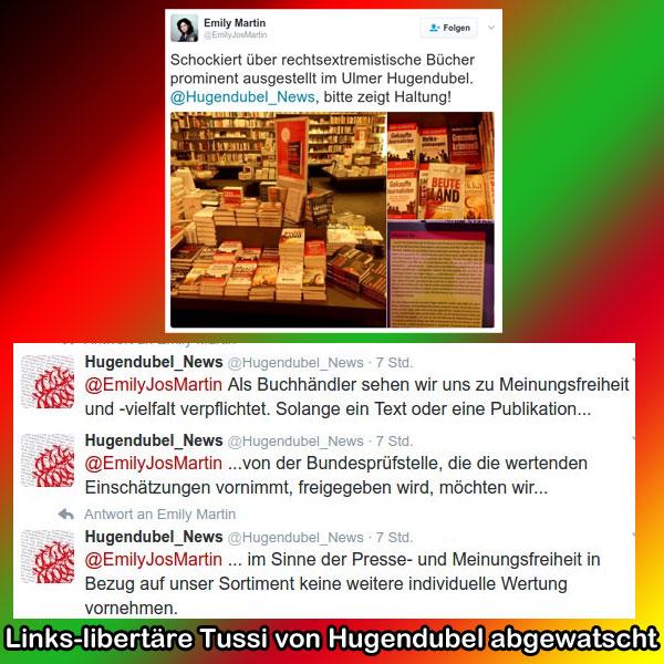 Bild zum Thema Links-libertäre Ideologie-Tussi abgewatscht Der Buchhändler Hugendubel hat eine Kritikerin an seinem Sortiment abgewatscht und der Dame gleich noch eine Lektion in Sachen Meinungsfreiheit erteilt.