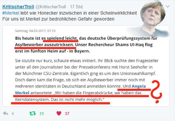 Bild zum Thema Dumm, überfordert, realitätsfern?  Sicher, #Merkel hat schon öfters mal demonstriert, dass mit ihr Einiges im Argen liegt.   Schön, dass sie dies immer wieder durch neue Beweise untermauert. Leider in der Regel zum Nachteil von #Deuschland und seiner #Gesellschaft. :v  #kanzlerdarstellerin  #Scheinwelt #Refugees  #asylchaos #migranten #gassenhauer #MerkelGags