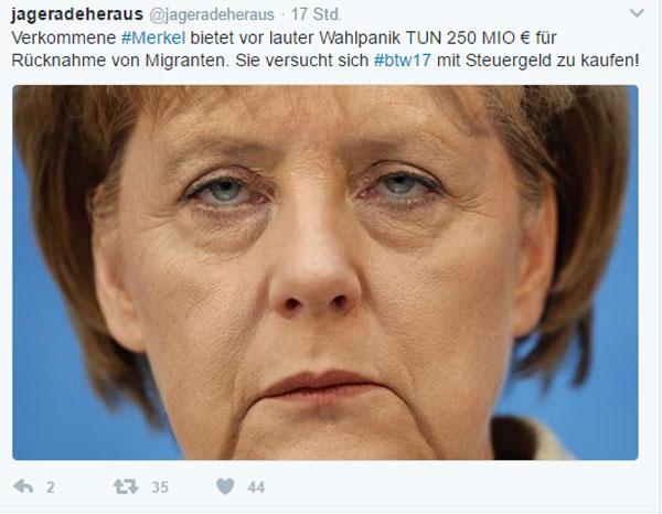 Bild zum Thema Manche kaufen sich sogar Wahlen mit Geld  Die Kanzlerdarstellerin Merkel dreht an allen Schrauben, um die toxischen Langzeitfolgen ihrer Flüchtlingspolitik den Augen der deutschen Gesellschaft vorzuenthalten.  Also schnell mal 250 Mio Euro den Tunesiern hingeblättert, damit sie ihre Flüchtigen (Flüchtigen!) wieder zurück nehmen und keine mehr rauslassen. Hauptsache die deutsche Grenze bleibt offen als Menetekel der Refugee-Mutti Merkel.