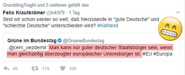 Bild zum Thema  Noch eine grüne Cem-Belehrung Deutsche aufgemerkt. Herr Özdemir von B' 90/Grüne hat noch eine Vorgabe für den 'guten Deutschen' parat. Bitte unbedingt beachten. Sicher haben auch Sie auf diese Orientierungshilfe aus der linksdrehenden Politgurkentruppe gewartet. Voila. :v #oezdemir #grüne #eu #zentralstaat #EuropaDerVaterländer