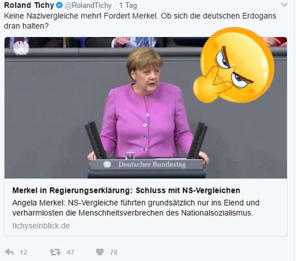 Bild zum Thema Keine Nazi-Vergleiche fordert Merkel  Die Kanzlerdarstellerin hat wieder einmal ihrem unbändigen Temperament freien Lauf gelassen und den Türken die Leviten gelesen. Und das vom Feinsten. Tralala, hoppsasa.  Allerdings sollte, wer im Glashaus sitzt, nicht so sehr mit Steinen werfen.   Wenn wir uns die deutschen roten grünen und dunkelroten Erdogans anschauen, denen keine Nazikeule für den politischen Gegner zu schade ist, gibt es ganz schön viel Handlungsbedarf.  We are watching you, Merkel. :v  #MerkelMussWeg #Nazikeule #DeutscheErdogans