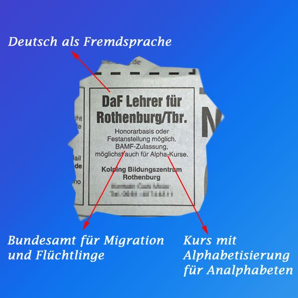 Bild zum Thema Die Asyl-Industrie boomt Und damit es nicht gar so auffällt, was wir alles in unsere Merkel-Gäste investieren, trifft es sich gut, dass Stellenanzeigen im Asylchinesisch für den Normalbürger gar nicht zu identifizieren sind. :v #asylindustrie #MerkelGäste #steuergelder #DeutschAlsFremdsprache #AlphaKurse