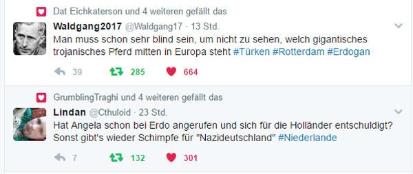 Sultan-Lakai Merkel ist Schwachstelle Europas  Die wegen des von ihr eingefädelten und zur Vermeidung des Staatsbankrotts unbedingt zu haltenden Flüchtlingsdeals handlungsunfähige Merkel ist die Schwachstelle Europas. Allein die Auswirkungen auf ihr persönliches politisches Schicksal bestimmen maßgebend deutsche und europäische Reaktionen auf den Umgang mit der Türkei.  Sicher ist es nicht richtig, den gegenwärtigen Dauer-Tobsuchtsanfall von Sultan Erdogan eskalieren zu lassen. Doch daneben gäbe es noch genügend Handlungsalternativen, die jedoch allesamt dem politischen Überleben Merkels geopfert werden.  Dabei ist die ganze Angelegenheit nicht ohne. Man erinnere sich an den Aufruf Erdogans anläßlich des Putschversuches in 2016, als Erdogan seine Sympathisanten aufrief, auf die Straße zu gehen. Mit bloßen Händen haben daraufhin die Erdogan-Anhänger schwer bewaffnete Militärs und sogar Panzer angegriffen und neutralisiert.  Sicherlich ist die Situation in der Türkei eine andere, als in Deutschland. Es ist aber nicht anzunehmen, dass deutsche Sicherheitsbehörden im Fall der Fälle einen besonderen Eindruck auf Erdogans Gefolgsleute machen würden. :v  http://www.zeit.de/news/2017-03/11/konflikte-niederlande-lassen-erdogans-minister-nicht-rein-11145803  #MerkelMussWeg  #merkel   #türkei  #flüchtlingsdeal  #erdogan  #präsidialsystem  #europa  #akp  #aufstand  #niederlande  #türken  #rotterdam  #TrojanischesPferd #Date:03.2017#