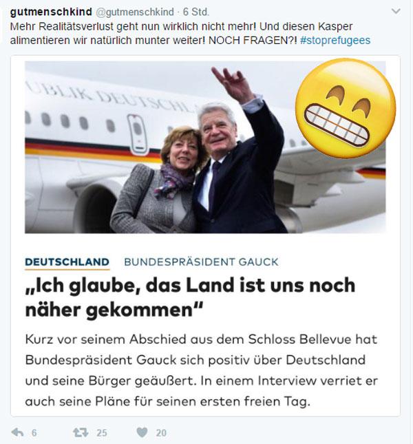 Bild zum Thema  Es war so schön ohne Gauck-Geschwätz  Lieber Himmel, jetzt gibt es den immer noch in der Öffentlichkeit.   Na jedenfalls nicht mehr lange.  Schwacher Trost, allerdings.   Was nachkommt lässt wenig Hoffnung. Und ist ebenso wie Gauck ist Steinmeier kein Volkssouverän, sondern Ergebnis von Parteien-Mauschelei. :v  #gauck  #bundespräsident  #volkssouverän #direktwahl  #NichtMeinPräsident  #steinmeier