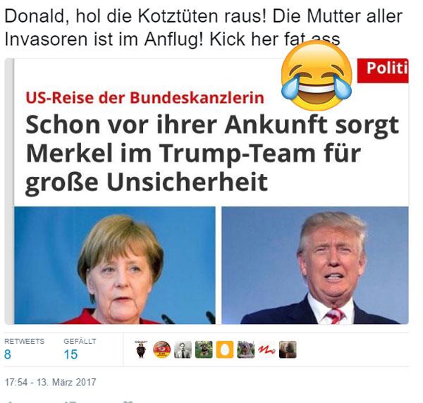 Bild zum Thema FakeNews: Trump hat Angst vor Merkel #MerkelUSA #Trump #FeigeMerkel