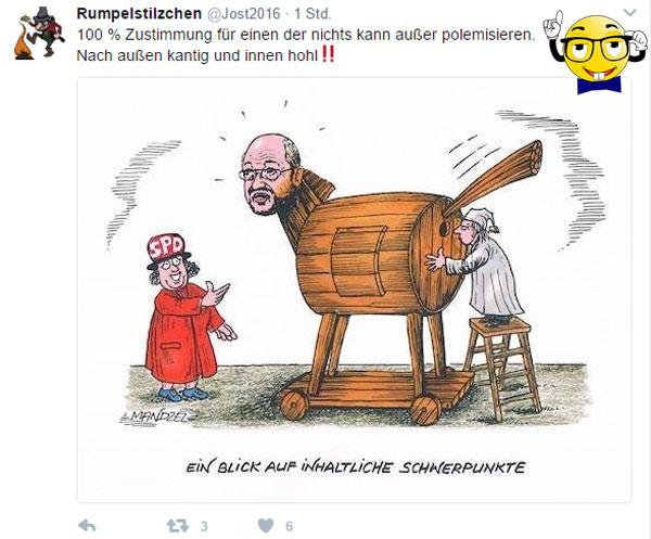 Bild zum Thema Rote Socken im Klammer-Modus  Erst jüngst wurde Hannelore #Kraft von der #SPDNRW mit 100% der Stimmen zur #Spitzenkandidatin für die #NRW-#Wahl gewählt.  Jetzt wurde also auch #Hoffnungsträger und #SPD-#Messias #Schulz mit 100% der Stimmen zum Vorsitzenden der SPD gewählt.  Die #Sozis klammern sich an ihre innerparteilichen #Heilsbringer, dass es einem schon leid tut.  Klar ist: die Partei als solche ist genau so ein Elend, wie sie es vor Schulz war. #Maas, #Hendricks, #Schwesig, #Gabriel lassen sich mit ihren inakzeptablen Leistungen im #Bundeskabinett nicht wegdiskutieren.  Wie bescheuert kann man sein, dass wir einen abgehalfterten EU-Politiker brauchen, um Deutschland aus #EuroKrise und #FlüchtlingsChaos zu führen.