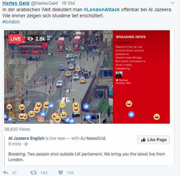 Bild zum Thema Der mitfühlende Islam  Anläßlich des terroristischen Angriffs in London hat auch der arabische Sender Al Jazeera berichtet und sofort erkennt man die Barmherzigkeit des Islam.