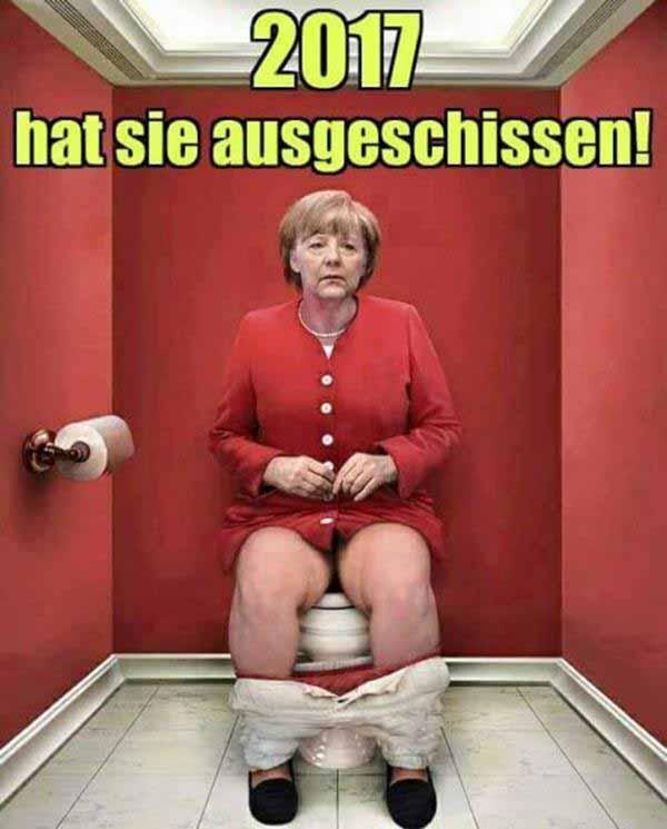 Angela Merkel auf dem Scheißhaus. Bald hat sie ausgeschissen #Date:12.2015#