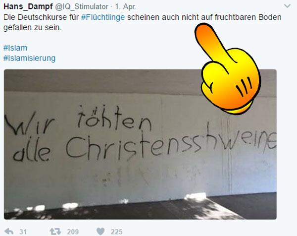 Rechtschreibung beachten, Moslems  Da zeigt sich in der Praxis, dass die Anstrengungen von Deutschland-Kaltland für die Integration bei weitem nicht ausreichen.  Allerdings könnte man auch verlangen, dass sich Moslems und Refugees ein bisschen reinhängen und anstrengen. :v  #asylchaos  #islam  #moslems  #christenschweine  #integration  #Merkel_Muss_Weg? #Merkel_Bunt_Schland? ? #AfD_wählen ? #Date:04.2017#