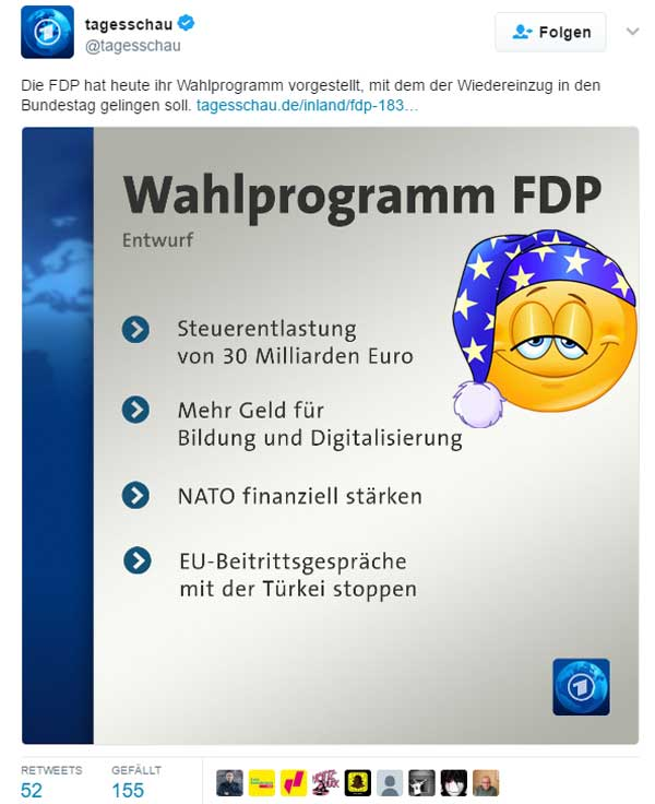 Bild zum Thema FDP-Wahlprogramm im Zeichen  der Zeit  Der Entwurf des FDP-Parteiprogramms zur Wahl des 19. Deutschen Bundestags im September 2017 ist ein wahrlich politisches Meisterwerk, das alle Gegenwartsprobleme in Deutschland beherzt anspricht.  Selten war eine Partei so überflüssig. :v  #fdp #wahlprogramm  #btw2017