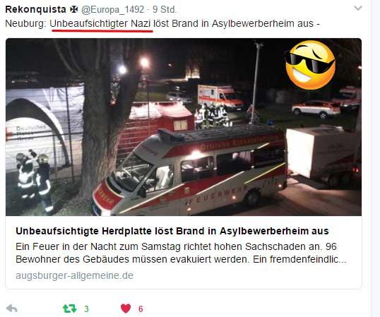 Fahrlässige Brandstiftung im Asylantenheim  Einen Sachschaden im hohen sechsstelligen Bereich richete ein Feuer in einem Asylheim in Neuburg an.  Gegen einen 28-jährigen Bewohner wird wegen fahrlässiger Brandstiftung ermittelt.   Die Augsburger Allgemeine erwähnt in ihrem kurzen Bericht 3 Mal, dass KEIN fremdenfeindlicher Hintergrund erkennbar sei. Da sind wir aber froh und bezahlen die Peanuts gern. :v  http://www.augsburger-allgemeine.de/neuburg/Unbeaufsichtigte-Herdplatte-loest-Brand-in-Asylbewerberheim-aus-id41137851.html  #brandstiftung  #asylantenheim  #asylbewerber_unterkunft  #asylversteher  #refugees  #asylkosten  #gutmenschlinge  #teddybärenwerfer  #systempresse #augsburger_allgemeine #Date:04.2017#