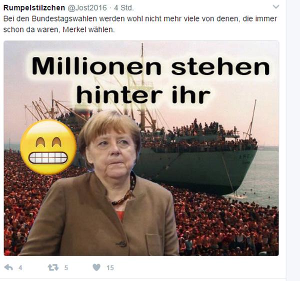 Bild zum Thema Bundestagswahl 2017: Millionen stehen hinter Merkel  Also wir sprechen hier von Merkels neuem Volk, also noch exakter von denen, die nicht schon länger hier sind, also von Gästen, Schutzbefohlenen, Folkloristen usw.   Interessant ist, wieviele andere, also außer Merkels neuem Volk, noch hinter Merkel stehen. :v  #Merkel_Muss_Weg? #Merkel_Bunt_Schland? ? #AfD_wählen ?