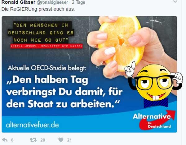 Merkel sagt: noch nie ging es den Deutschen so gut wie jetzt. Die OECD sagt, dafür arbeiten die Deutschen den halben Tag für den Staat. #oecd  #gier_staat  #leben_in_deutschland  #Merkel_Muss_Weg? #Merkel_Bunt_Schland? ? #AfD_wählen ? #cdu  #csu  #spd  #afd #Date:04.2017#