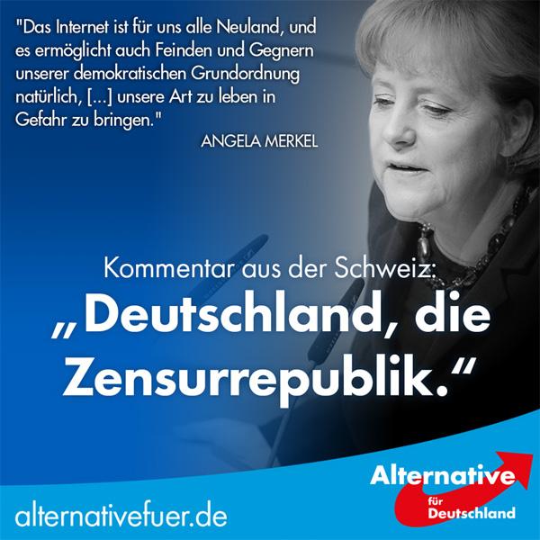 Das Maas ist voll - Zensurrepublik Deutschland Dass Leute, die nichts vom Internet wissen, wie unsere Kanzlerdarstellerin Merkel noch vor Jahresfrist (Neuland), an dieser größten Errungenschaft aller Zeiten mit ihren grobschlächtigen Pratzen und ihrem unterentwickelten Intellekt herummassakrieren ist eine elende Schande. Sie bekämpfen die Sozialen Medien aus machtpolitischen Gründen; die Wahrheiten in der Gegenöffentlichkeit sind der Merkel-Clique und der GroKo der größte Dorn im Auge. Der inkompetenteste aller Wichtigtuer, Bundesjustizminister Heiko Maas, natürlich SPD, sollte sich schnellstens aus unserer Demokratie verpissen. Maas auf den Mars????  :v #zensur #maas #netzwerkdurchsetzungsgesetz #bundesjustizminister #regierungs_inkompetenz #zensur_republik #neuland #machtpolitkerin_merkel #groko #antidemokraten #politische_wichtigtuer #meinungsfreiheit #grundgesetz #maas_auf_den_mars #facebookzensur #twitterzensur #meinungskorridor #andersdenkende #Merkel_Muss_Weg???? #Merkel_Bunt_Schland? ???? #AfD_wählen ???? #Unbequem_Echt_Mutig_AfD™  In der Schweiz reibt man sich, angesichts der Bemühungen um eine Zensur der sozialen Netzwerke, verwundert die Augen: