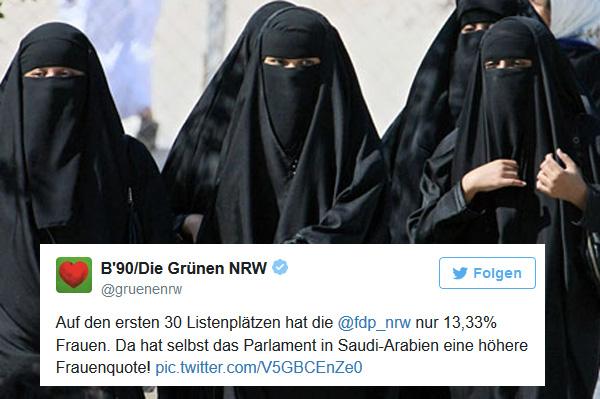 Bunt - dumm - weltbesoffen: Grüne Phantasien  Die Grünen in NRW beschweren sich über die geringe Frauenquote bei der FDP und führen als glänzendes Beispiel das nicht existente Parlament in Saudi-Arabien an.  Saudi-Arabien - eines der schlimmsten islamischen Frauenunterdrückungs-Regime überhaupt.  Wie blöde darf man sein, um sich in Deutschland zur Wahl zu stellen? Lächerlich, blamabel. :v  #gruenenrw  #frauenrechte  #saudi_arabien  #grüne  #traumtänzer  #bunt_dumm_weltbesoffen  https://www.unzensuriert.de/content/0023790-Blamage-auf-Twitter-Gruene-NRW-glauben-saudi-arabisches-Parlament #Date:04.2017#