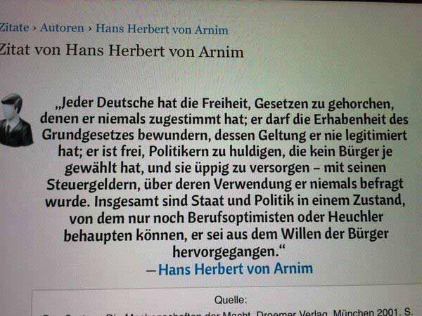 Hans Herbert von Arnim zu den Freiheiten des Deutschen #Date:01.2016#