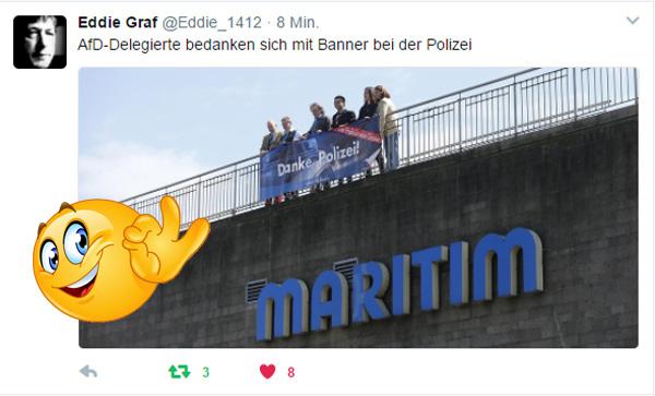 AfD-Delegierte bedanken sich bei Polizei Köln  #afd_bundesparteitag  #köln #dank_an_polizei  #linksfaschisten  #linksautonome  #linksterrorismus #autorassisten_selbsthasser  #demokratiefeinde  #antifa  #antifa_unterstützer  #spd  #grüne  #linke  #verdi  #gewerkschaften  #kirchen  #anti_antifa  #rotlackierte_faschos  #anarchisten  #bunt_intolerant_weltoffen_antidemokratisch #linke_zecken  #zecken_kärcher  #linke_gewalt  #politische_gewalt_links    #militanter_arm  #militanter_arm_antifa  #militanter_arm_dgb  #antifa_drecksarbeit  #scheindemokratie  #bananenrepublik    #gewalt_gegen_afd #Date:04.2017#