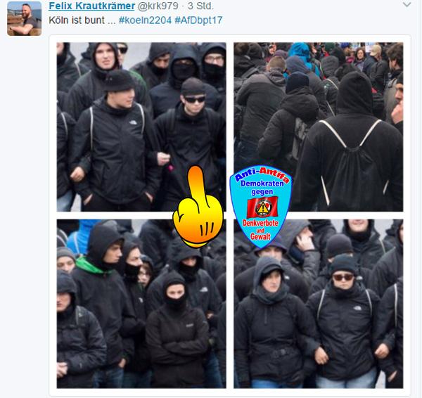 AfD-BPT: Köln ist bunt #linksfaschisten #linksautonome #linksterrorismus #autorassisten_selbsthasser #demokratiefeinde #antifa #antifa_unterstützer #spd #grüne #linke #verdi #gewerkschaften #kirchen #anti_antifa #rotlackierte_faschos #anarchisten #bunt_intolerant_weltbesoffen_antidemokratisch #linke_zecken #zecken_kärcher #linke_gewalt #politische_gewalt_links #militanter_arm #militanter_arm_antifa #militanter_arm_dgb #antifa_drecksarbeit #scheindemokratie #bananenrepublik #gewalt_gegen_afd #Date:04.2017#