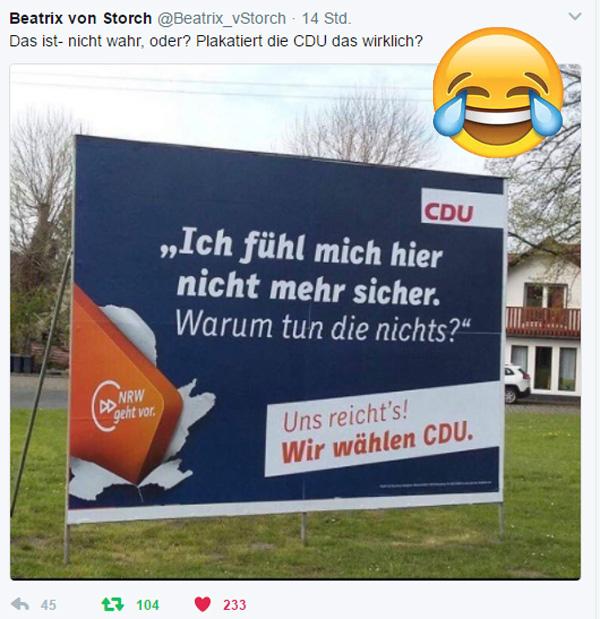 Bild zum Thema  CDU-Wahlkampf mit Selbstironie  Kaum zu glauben. Die CDU, also die Partei, die mit Kanzlerdarstellerin Merkel Deutschland zu einem El-Dorado für Islamisten, Terroristen, Kulturbereicherern und Messertechnikern gemacht hat, versucht mit dem Thema Innere Sicherheit im Wahlkampf zu punkten.  Lächerlicher geht es nicht mehr. :V  #cdu  #wahlkampf  #innere_sicherheit  #Merkel_Muss_Weg? #Scheindemokratie??  #Bananenrepublik? #Merkel_Bunt_Schland? #Asyl_Wahnsinn? #Systemlinge?  ? #AfD_wählen ? #Unbequem_Echt_Mutig_AfD™