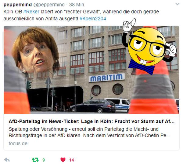 AfD-BPT #koeln2204: Reker labert rheinischen Dünnschiss  Kölns Oberbürgermeisterin, die gleichzeitig Erfinderin von Deutschlands bekantester Anti-Vergewaltigungsmaßnahme ist - eine Armlänge Abstand - labert auf den Demos gegen den AfD-BPT ihren gewohnten Schrott ab und hetzt gegen die AfD.  Besonders reizvoll inmitten von Linksautonomen und Demokratiefeinden. So mögen wir das. Krasser und unverschämter kannst du die Bürger nicht bescheissen. :v  #reker  #armlänge_abstand ##linksautonome  #linksterrorismus #autorassisten_selbsthasser  #demokratiefeinde  #antifa  #antifa_unterstützer  #spd  #grüne  #linke  #verdi  #gewerkschaften  #kirchen  #anti_antifa  #rotlackierte_faschos  #anarchisten  #bunt_intolerant_weltbesoffen_antidemokratisch #linke_zecken  #zecken_kärcher  #linke_gewalt  #politische_gewalt_links   #militanter_arm  #militanter_arm_antifa  #militanter_arm_dgb  #antifa_drecksarbeit  #scheindemokratie  #bananenrepublik    #gewalt_gegen_afd #Date:04.2017#