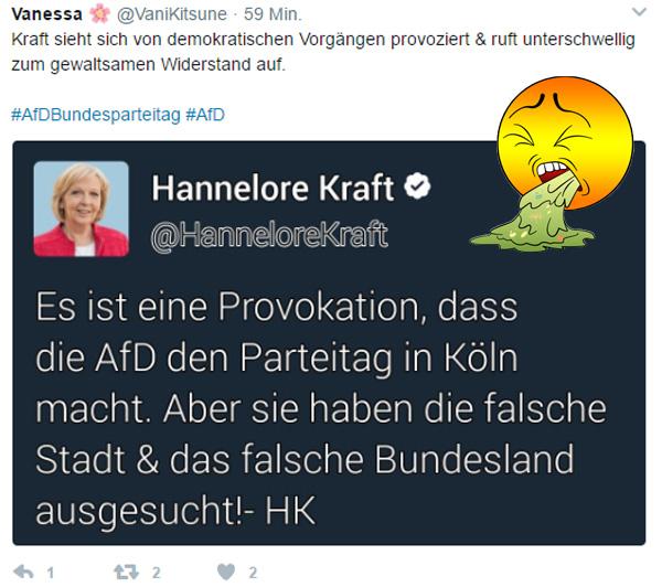 Die SPD-Ministerpräsidentin von NRW, Hannelore Kraft, hält es für eine Provokation, wenn eine demokratische Partei einen Parteitag in ihrem Bundesland abhält. Könnte man in der Tat so bewerten, wenn man die Zustände im Chaos-Bundesland NRW unter rot-grün betrachtet.  #Date:04.2017#