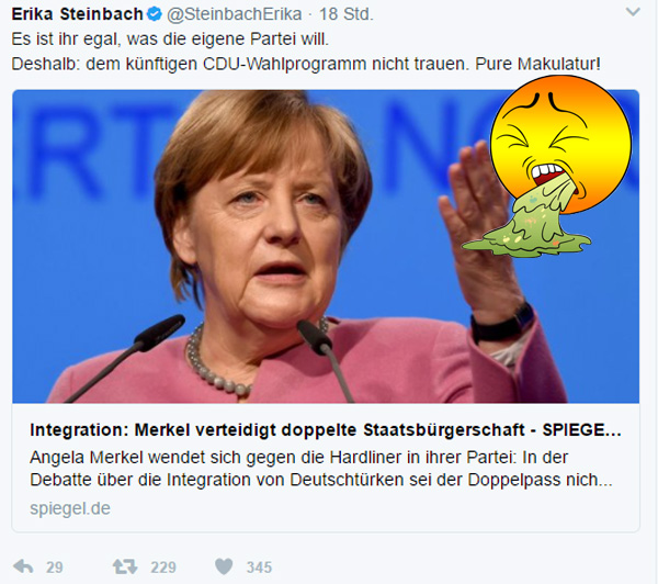 Bild zum Thema Insider: traue keinem CDU-Wahlprogramm  ... denn Merkel macht, was SIE will :V  #Merkel_Muss_Weg????  #bunt_intolerant_weltbesoffen_anitdemokratisch  #Scheindemokratie????????  #Bananenrepublik???? #linksschwarzgrüne_realitätsverweigerer   #Merkel_Bunt_Schland? #Asyl_Wahnsinn???? #Systemlinge?  ???? #AfD_wählen ???? #Unbequem_Echt_Mutig_AfD™
