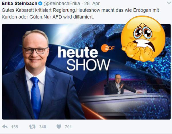 Bild zum Thema Heute-Show + Extra 3 halten Regierung den Rücken frei  In Vor-Merkel-Zeiten dienten Hofnarren und politisches Kabarett dazu, den Herrschenden und der Regierung den Spiegel vor Augen zu halten.  In Merkel-Zeiten dient politisches Kabarett den Herrschenden und der Regierung. Und das im Kontext einer Großen Koalition ohne echte Opposition in der Volksvertretung, dem Bundestag. Anstatt die (noch) außerparlamentarische Opposition im Sinne der Demokratie zu fördern, wird diese gnadenlos in Grund und Boden gebasht.  Geht's noch, ihr pseudo-intellektuellen Schleimer? :v  #heute_show  #extra_3  #politisches_Kabarett  #groko  #demokratie  #regierungs_funk #pseudo_intellektuell