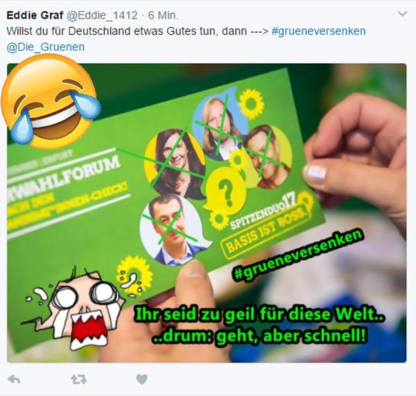 Bild zum Thema Für Deutschland : Grüne unter 5%  Willst du für unser Land, unsere Kultur und die Bildung unserer Kinder etwas Gutes tun, mach die 5% für die Grünen zum High-Noon. :v  #grüne  #btw2017
