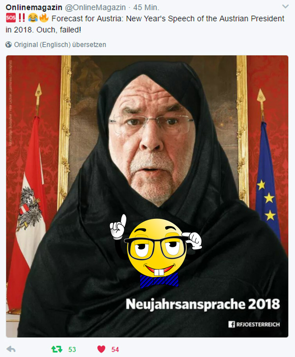 Österreich: schlechte Aussichen mit Grünem van der Bellen  Kaum gewählt, zeigt der österreichische Bundespräsident van der Bellen sein wahres grünes Gesicht.  Unter anderem eine ekelhafte Islamunterwürfigkeit, die in dem Vorschlag gipfelt, dass alle Frauen Kopftücher tragen sollten, damit dies nicht Muslimas als solche erkennbar machen sollen.  Das Schicksal und der Weitblick der Wähler bewahre uns vor solchen Kretin-Vorschlägen und den grünen Moslems. :v  #van_der_bellen  #österreich  #vdb  #islamunterwürfigkeit  #kopftuch  #grüne #Date:#
