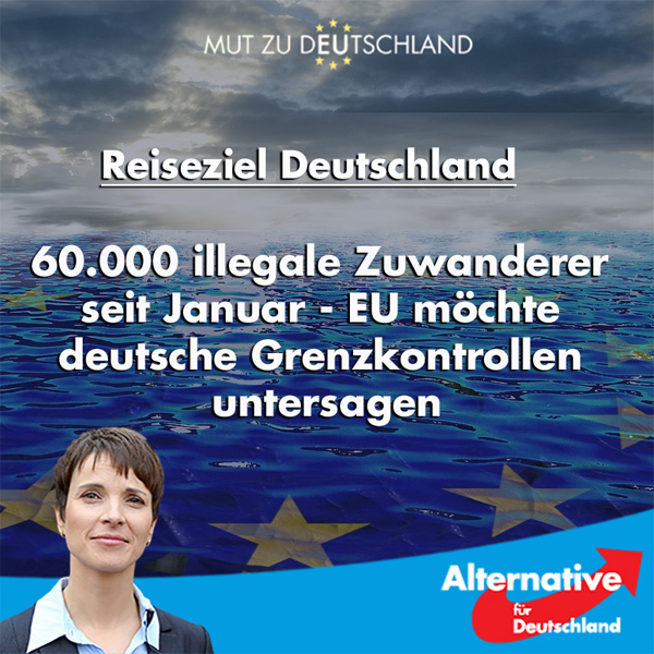 60.000 Fälle illegaler Einreise nach Deutschland seit Januar  Die Einwanderung aus Afrika nach Deutschland ist ungebrochen. 2017 reisten hier mehr Migranten an, als über die EU Außengrenzen überhaupt nach Europa kamen.  Die Bundesregierung behauptet, dass der Zustrom der Migranten stark zurückgegangen sei. Berücksichtigt wird hier allerdings nur der Zuzug über die EU-Außengrenzen, der seit Jahresbeginn 44.000 Personen zählte. Ganz anders gestaltet sich die Lage für Deutschland: Bis Ende April kamen 60.000 Einwanderer über deutsche Grenzen. Es handelt sich dabei um unerlaubt weiterreisende Migranten meist aus Afrika, die schon länger in Europa leben, aber Deutschland als gelobtes Land auserkoren haben.  Die Sicherung der EU-Außengrenzen weist nach wie vor große Lücken auf und wird höchst unwillig betrieben: Mithilfe zahlreicher NGOs werden die Migranten wie im Taxigewerbe unweit der nordafrikanischen Küste aufgelesen und nach Europa gebracht. Umso wichtiger wäre die konsequente nationale Sicherung der deutschen Außengrenzen. Dass diese längst nicht richtig funktioniert, zeigt schon der Zuzug von 60.000 illegalen Wandermigranten in den ersten vier Monaten des Jahres.  Die EU-Kommission hatte Deutschland, Österreich und drei weiteren Ländern am Dienstag systematische Grenzkontrollen zwar noch einmal zugestanden, sie gleichzeitig aber aufgefordert, die Kontrollen innerhalb des nächsten halben Jahres einzustellen. Was das bedeutet, kann sich jeder ausrechnen. Die Bundesregierung ordnet nationales Recht bereitwillig dem EU Recht unter und nimmt so eine weitere Flut von Migranten in Kauf, die im deutschen Sozialsystem ihre neue Heimat finden. Politik im Sinne nationaler Interessen ist das sicher nicht.  #AfD Mut zur Wahrheit  https://www.welt.de/politik/deutschland/article164238932/Dieser-Vergleich-zeigt-die-Dimension-der-Asylzuwanderung.html #Date:05.2017#